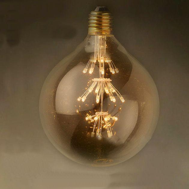 FIREWORKS žiarovka spotrebuje menej elektrickej energie čiže je šetrná k finančným prostriedkom a k životnému prostrediu ako halogénové žiarovky - FIREWORKS žiarovka - SPHERE - E27, 3W, 200lm