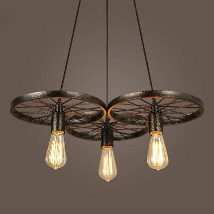 Historické závesné svietidlo Koleso v priemyselnom štýle dve pätice - Historické závesné svietidlo Koleso v priemyselnom štýle, tri pätice