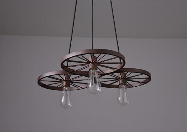 Historické závesné svietidlo Koleso v priemyselnom štýle tri pätice 4 - Historické závesné svietidlo Koleso v priemyselnom štýle, tri pätice