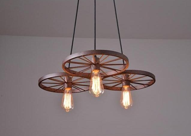 Historické závesné svietidlo Koleso v priemyselnom štýle tri pätice 5 - Historické závesné svietidlo Koleso v priemyselnom štýle, tri pätice