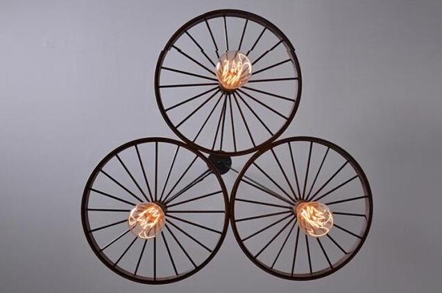 Historické závesné svietidlo Koleso v priemyselnom štýle tri pätice 6 - Historické závesné svietidlo Koleso v priemyselnom štýle, tri pätice