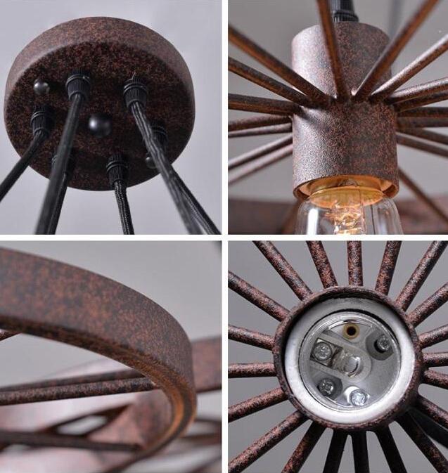 Historické závesné svietidlo Koleso v priemyselnom štýle tri pätice 7 - Historické závesné svietidlo Koleso v priemyselnom štýle, tri pätice