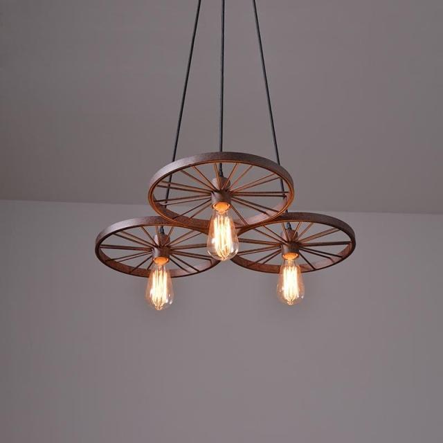 Historické závesné svietidlo Koleso v priemyselnom štýle tri pätice 9 - Historické závesné svietidlo Koleso v priemyselnom štýle, tri pätice