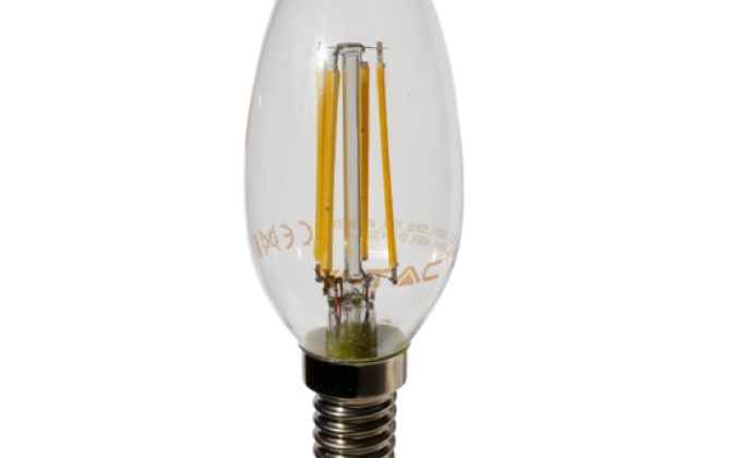 FILAMENT žiarovka CANDLE E14 Teplá biela 4W 400lm V TAC 670x420 - FILAMENT žiarovka - CANDLE - E14, Teplá biela, 4W, 400lm, V-TAC