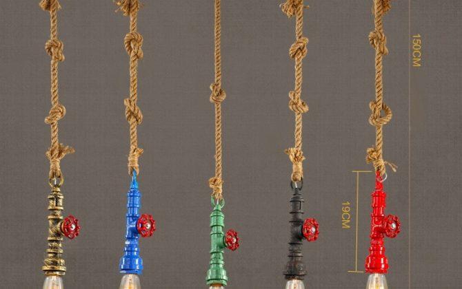 Je nezvyčajné originálne a umelecké. Lano je možné zauzliť a vytvoriť na nom dekoračné uzly 670x420 - Kreatívne lanové závesné svietidlo v tvare priemyselného potrubia v zelenej farbe