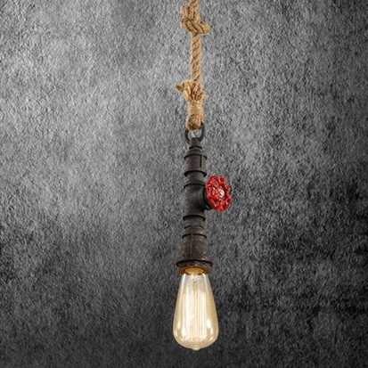 Kreatívne lanové závesné svietidlo v tvare priemyselného potrubia v čiernej farbe - Kreatívne lanové závesné svietidlo v tvare priemyselného potrubia v čiernej farbe