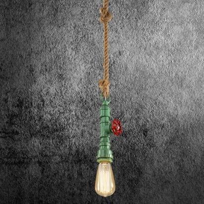 Kreatívne lanové závesné svietidlo v tvare priemyselného potrubia v zelenej farbe - Kreatívne lanové závesné svietidlo v tvare priemyselného potrubia v zelenej farbe