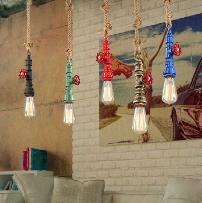 Svietidlo sa hodí do miestností s priemyselným industriálnym alebo moderným štýlom - Kreatívne lanové závesné svietidlo v tvare priemyselného potrubia v zelenej farbe