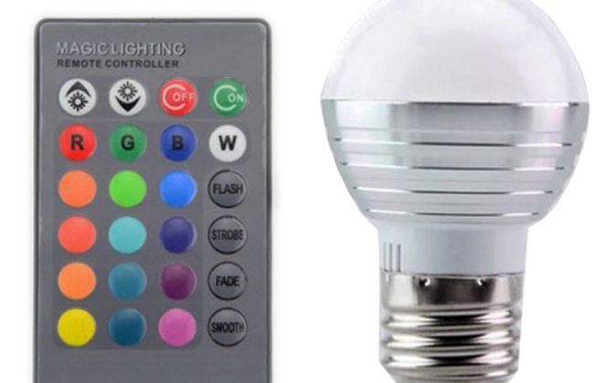 LED RGB žiarovka na diaľkové ovládanie 16 funkcií 5W4 670x420 - LED RGB žiarovka na diaľkové ovládanie, 16 funkcií, 5W