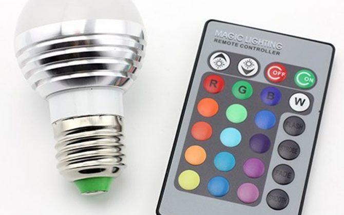 LED RGB žiarovka na diaľkové ovládanie 16 funkcií 5W5 670x420 - LED RGB žiarovka na diaľkové ovládanie, 16 funkcií, 5W