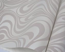 Textilná reliéfna tapeta na stenu v krémovej farbe