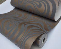 Textilná reliéfna tapeta na stenu v čokoládovo hnedej farbe