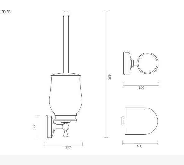 Mosadzný retro držiak na WC kefu