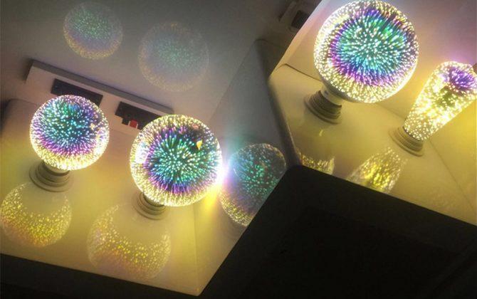Kolekcia 3D FIREWORKS je kolekcia dekoračných žiaroviek ktoré dokážu vytvoriť nádherné osvetlenie pre Vašu domácnosť party svadbu a podobne 3 670x420 - 3D FIREWORKS, LED Dekoratívna žiarovka - Globus, E27, 5W, 100lm