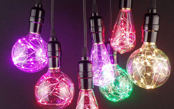 Žeravé vlákna sú nahradené LED studenými diódami 670x420 - Dekoračná LED žiarovka EDISON, E27, 150lm, Teardrop, Modrá