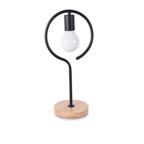 Stolová lampa v tvare kruhu s dreveným podstavcom - Stolová lampa v tvare kruhu s dreveným podstavcom
