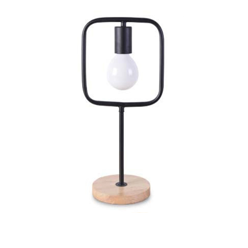 Stolová lampa v tvare štvorca s dreveným podstavcom - Stolová lampa v tvare štvorca s dreveným podstavcom