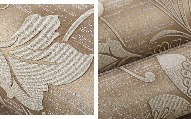 Prepracovaná hnedá tapeta s kvetinovým vzorom