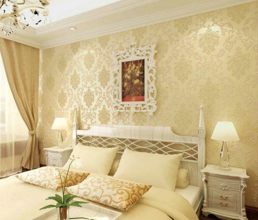 Textilná reliéfna tapeta na stenu s béžovým vzorom