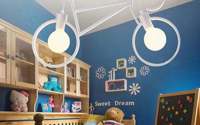 Kreatívne závesné svietidlo v podobe bicykla 670x420 - Kreatívne závesné svietidlo v podobe bicykla v bielej farbe