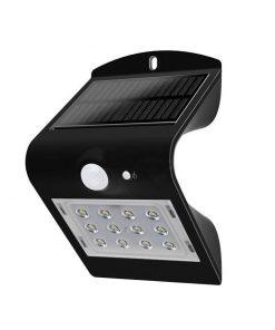 LED solárne nástenné svietidlo v čiernej farbe, Denná biela, 1.5W, IP65, 220lm