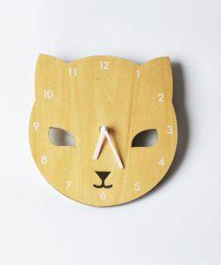 Detské nástenné hodiny z dreva v tvare hlavy mačičky