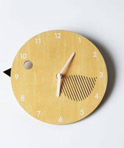 Detské nástenné hodiny z dreva v tvare vtáčika