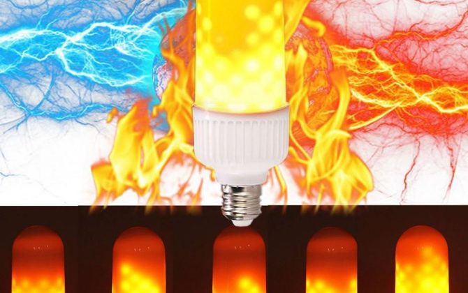 LED žiarovka s naprogramovanými diódami, ktorých výsledný efekt pôsobí dojmom horiaceho plameňa, použitím svietidla s mliečnym sklom bude tento efekt dokonalý