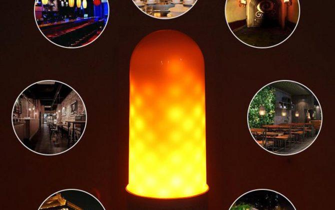 LED žiarovka s naprogramovanými diódami ktorých výsledný efekt pôsobí dojmom horiaceho plameňa použitím svietidla s mliečnym sklom bude tento efekt dokonalý 4 670x420 - LED žiarovka s efektom plameňa, E27, 3W, Teplá biela
