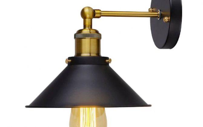 Historické nástenné svietidlo s tmavým hlbokým tienidlom