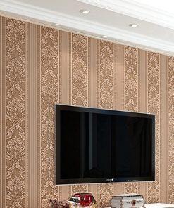 Jedinečná textilná tapeta na stenu so vzorom, khaki farba