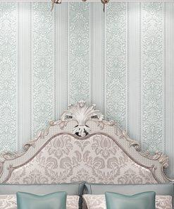 Jedinečná textilná tapeta na stenu so vzorom, svetlo-modrá farba