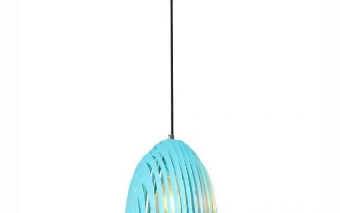 Kovové kuželové závesné svietidlo v modrej farbe
