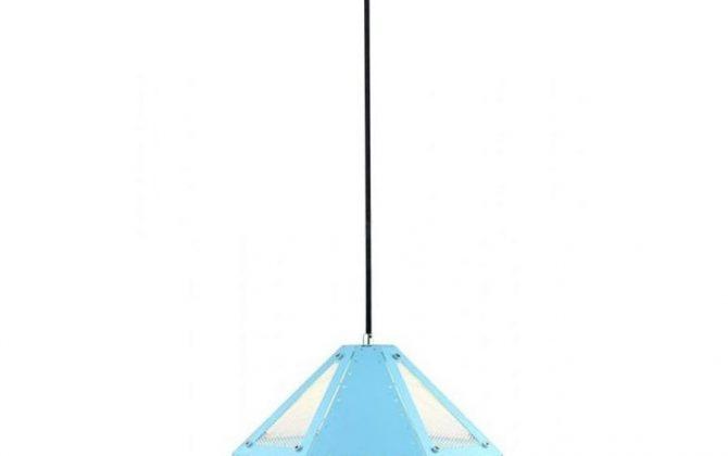 Kovové moderné závesné svietidlo PASTEL v modrej farbe