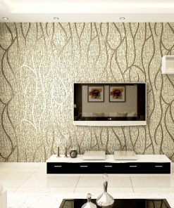 Luxusná 3D semišová tapeta na stenu v béžovo-zlatej farbe
