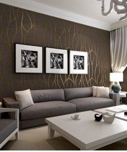 Luxusná 3D semišová tapeta na stenu v hnedo-zlatej farbe