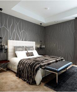 Luxusná 3D semišová tapeta na stenu v sivo-striebornej farbe