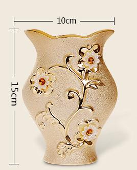 Elegantná porcelánová váza s unikátnym dizajnom kvetmi a kryštálikmi v zlatej farbe 1 1 - Elegantná porcelánová váza s unikátnym dizajnom, kvetmi a kryštálikmi v zlatej farbe