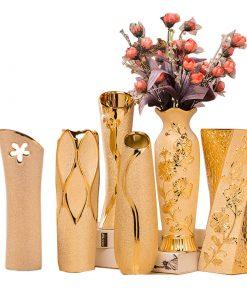 Elegantná porcelánová váza v zlatej farbe v rôznych variantoch