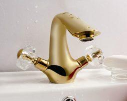 Luxusná zlatá umývadlová batéria s kohútikmi