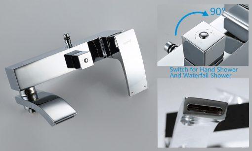 Chrómový sprchový panel s hlavovou sprchou a ručnou sprškou