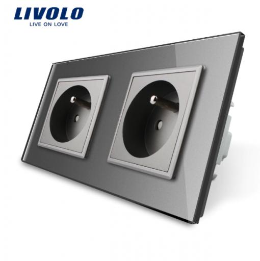 Luxusná dvojzásuvka s ochranným kolíkom v šedej farbe