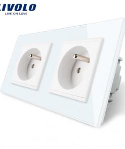 Luxusná dvojzásuvka s ochranným kolíkom v bielej farbe