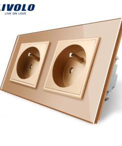 Luxusná dvojzásuvka s ochranným kolíkom v zlatej farbe