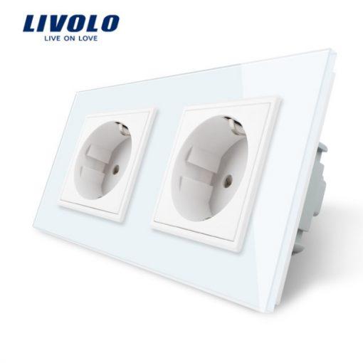 Luxusná dvojzásuvka s ochranou typu SCHUKO v bielej farbe