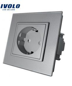 Luxusná zásuvka s ochranou typu SCHUKO v šedej farbe