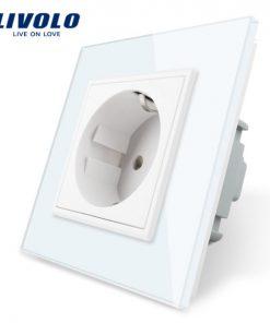 Luxusná zásuvka s ochranou typu SCHUKO v bielej farbe