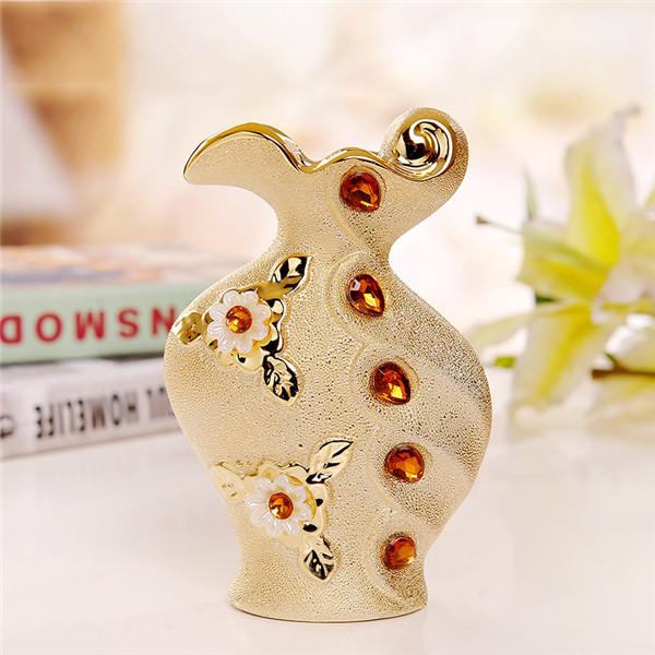 Luxusná porcelánová váza s kvetmi a kryštálikmi v zlatej farbe 2 - Luxusná porcelánová váza s kvetmi a kryštálikmi v zlatej farbe