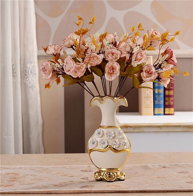 Luxusná porcelánová váza s kvietkami v bielo-zlatej farbe, 20,5 cm x 10 cm