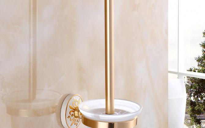 Elegantný držiak na WC kefu v zlato-bielej farbe